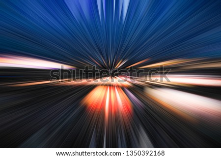 High speed motion effect with motion blur and bright colors, red,blue,purple,orange and yellow.