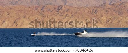 High speed motor boats in the Aqaba gulf, Red Sea