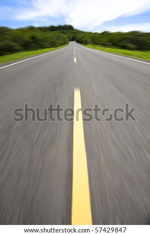high speed pass through the empty road