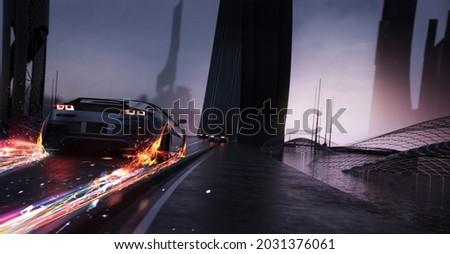 High speed, racing cars speeding through conceptual futuristic city  (non existent car design, full generic) - 3d illustration, 3d render