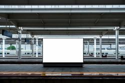 High-Speed Rail Background Blank Billboard Mock up on Railway Platform