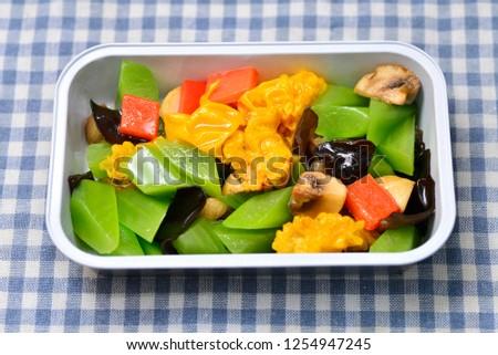 High speed rail meal, meal plan, lettuce, mushroom, three fresh