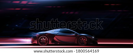 High speed, sports car - futuristic concept (non-existent car design, full generic), side view - 3d illustration, 3d render Сток-фото ©
