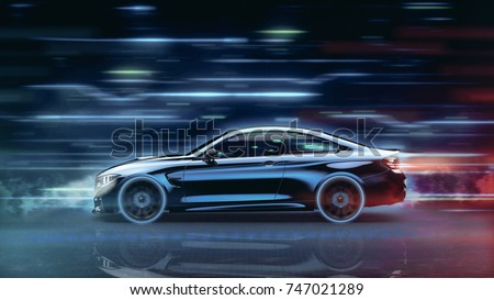 High speed, sports car - futuristic concept (with grunge overlay) generic and brandless - 3d illustration stock photo