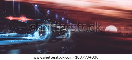 High speed, sports car racing towards city sunset - futuristic concept (with grunge overlay) generic and brandless - 3d illustration