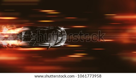 High speed super sports car - street racer concept - top view (with grunge overlay) generic and brandless - 3d illustration