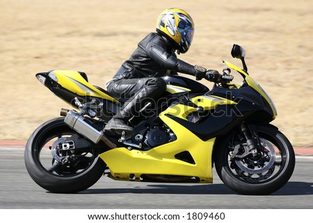 High speed Superbike on the circuit all Logos and Trademarks removed