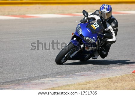 High speed Superbike on the circuit – Kyalami, South Africa – Movement on elements of the image. Trackday Editorial