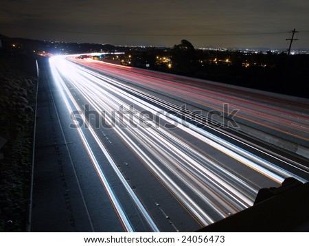 High speed traffic on the Ronald Reagan Freeway in Los Angeles