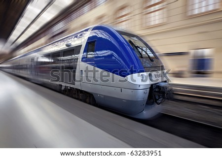 High-speed train in motion, France, Europe