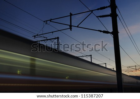 High speed train in sunset