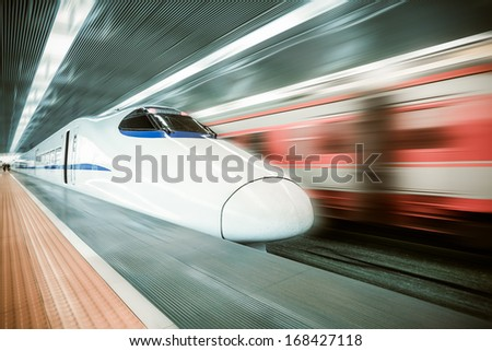 high speed train passing station with motion blur background #168427118