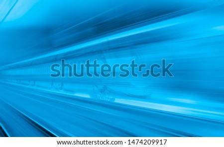 High speed train runs on rail tracks . Train in motion #1474209917