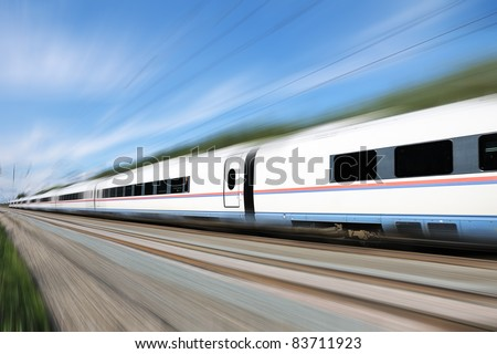 High-speed train Sapsan. Racing white bright, modern train.