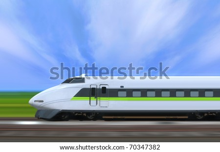 High-speed train with motion blur in the country