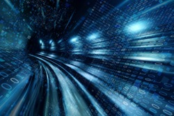 High speed with binary code numbers on motion blurred path or track, speed and faster digital matrix technology information concept.