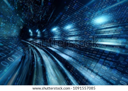 High speed with binary code numbers on motion blurred path or track, speed and faster digital matrix technology information concept. #1091557085