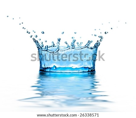 high splash of blue water on white background