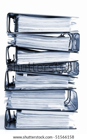 high stack of folders isolated on a white background - stock photo