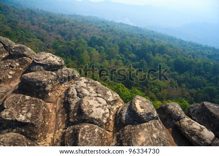 High stone cliff above forest