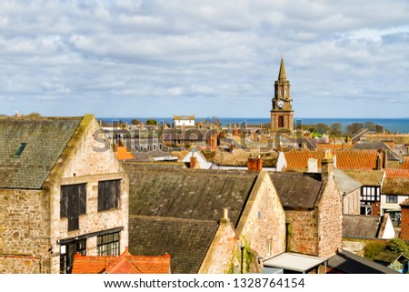 High Street in town center of Berwick-upon-Tweed, northernmost town in Northumberland at the mouth of River Tweed in England, UK