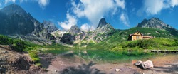 High Tatras and the Zelene Pleso (Green lake) with the Belianske Tatry behind,( Chata pri Zelenom Plese) Slovakia