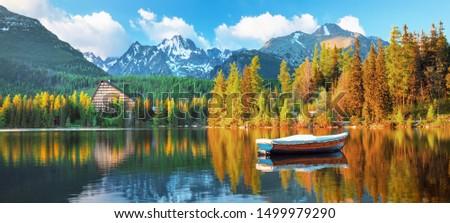 High Tatras mountains national park and Strbske pleso  (Strbske lake) beautiful mountain lake in Slovakia Stockfoto ©