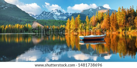 High Tatras mountains national park at sunset and Strbske pleso  (Strbske lake) beautiful mountain lake in Slovakia Stockfoto ©