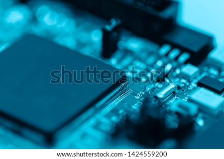 High Tech Abstract background of close-up details of electronic cpu chip with colourful  industry icon, concept of modern technology for better life, city and environment conservation. #1424559200