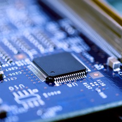 High Tech Circuit Board close up, macro. concept of information technology