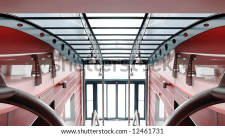 High Tech Commercial Building Interior. (Simulation) - stock photo