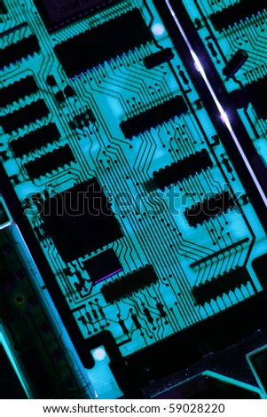 high tech computer circuit board with high impact resistors that has been back lit for a surreal. Black Bedroom Furniture Sets. Home Design Ideas