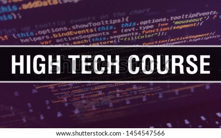 high tech course with Binary code digital technology background. Abstract background with program code and high tech course. Programming and coding technology background. high tech course with