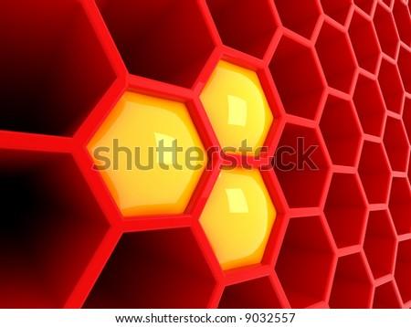 High tech 3d red honeycomb