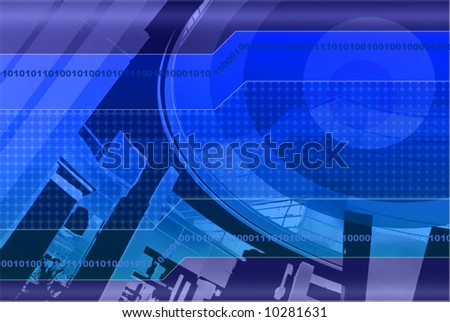 High Tech Digital Background Design Based on Architectural Reflection in Deep Blue