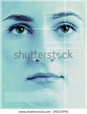 High-tech face technology background with targeted eye scan