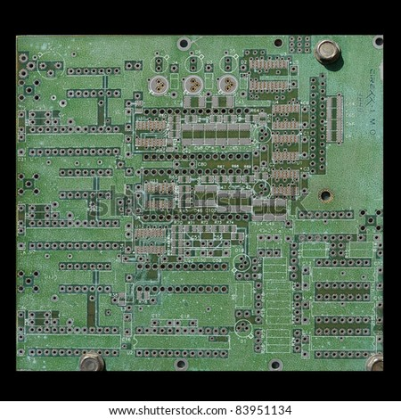 High Tech grunge background - old circuit board closeup