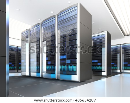 High tech interior of server room in data center. Concept of quantum super computer with artificial intelligence. 3D illustration.