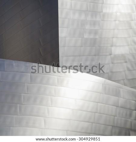 High tech metallic background. Part of high tech building.