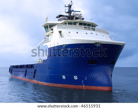 High tech offshore oil and gas platform supply vessel - stock photo
