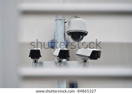 High tech overhead security camera system installed in guarded industrial area