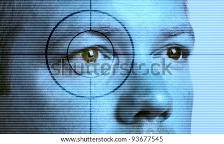 High-tech technology background with eye scan man - stock photo