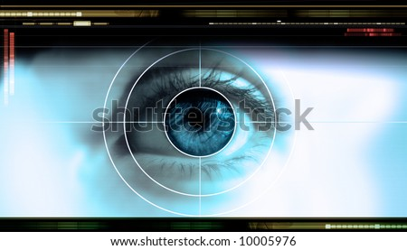 high-tech technology background with targeted eye on computer display