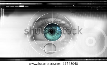 high-tech technology background with targeted eye on computer display for optical research - stock photo