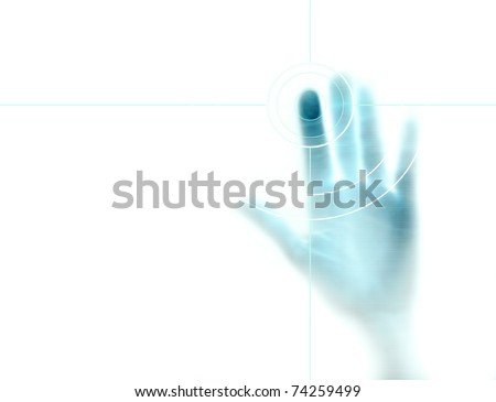 high-tech technology background with targeted fingerprint on computer display - stock photo