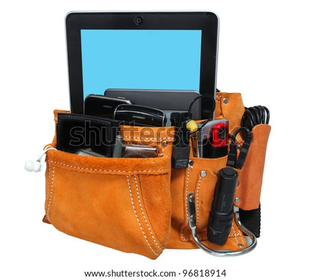 High Tech Tool Belt/Isolation against white of suede & leather tool belt with cell phones, PDAs, digital cameras & other high tech gizmos in place of traditional tools. Clipping path included. - stock photo