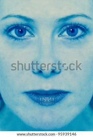 High-tech woman face technology background with scan