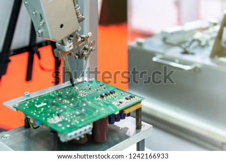 High technology and modern automatic robot for pcb (print circuit board) assembly machine during soldering or welding part or component