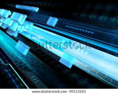 High technology background with some transparent geometric shapes flying in a tunnel. Digital illustration.