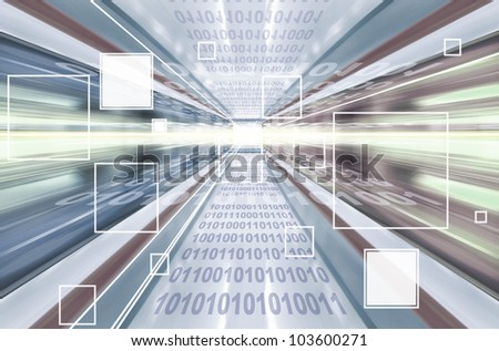 High technology background with transparent geometric shapes. Digital illustration.